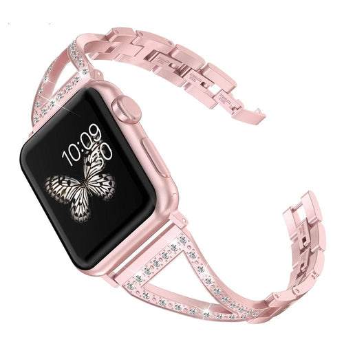 Jewelry Stainless Steel Wristband Rhinestone Luxury Strap For Apple Watch