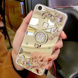 Diamond Rhinestone Mirror Phone Cover With Ring Stand & Finger Holder - Elegance & Splendour