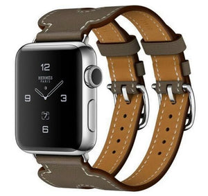 Double Buckle Genuine Leather Cuff Band For Apple Watch - Elegance & Splendour