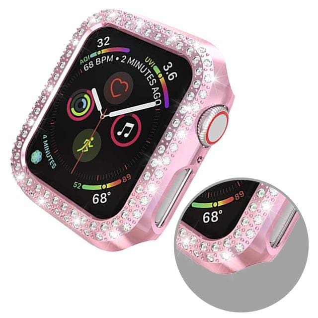 Double Rows Diamond Face Compatible With Apple Watch - Elegance & Splendour
