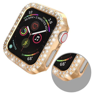 Double Rows Diamond PC Screen Protector Cover For Apple Watch 38mm 42mm 40mm 44mm  / Series 4 3 2 1
