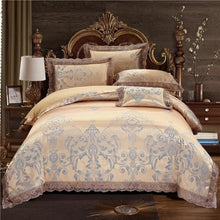 Load image into Gallery viewer, Silk Lace Ruffles Duvet Cover Luxury Bedding Set - Elegance & Splendour