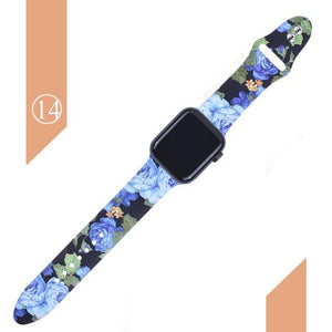 Floral Silicone Printed  Bands For Apple watch Series SE 6 5 4 3 2 1 - Elegance & Splendour