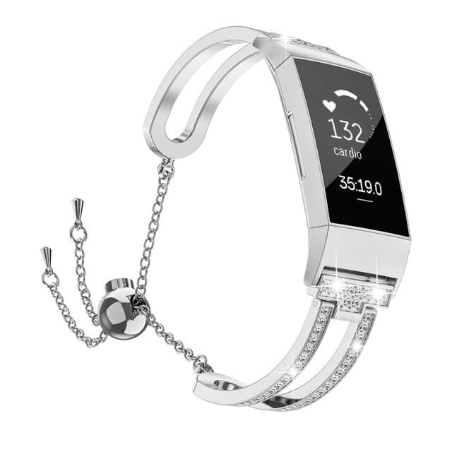 Luxury Crystal Stainless Steel Bracelet Smart Band For Fitbit Charge 3 - Elegance & Splendour
