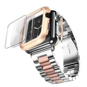Radiant Royal Stainless Steel Metal Band Compatible With Apple Watch + Protective Case - Elegance & Splendour