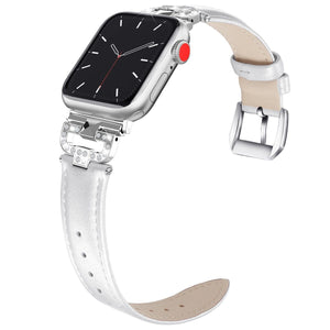 Aurelia - Rhinestone Studded Leather Loop Band Compatible With Apple Watch - Elegance & Splendour
