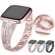 Load image into Gallery viewer, Stainless Steel  With Rhinestone Wristbands For Fitbit Versa - Elegance & Splendour