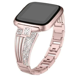Stainless Steel  With Rhinestone Wristbands For Fitbit Versa - Elegance & Splendour