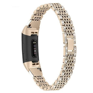 Diamond Stainless Steel Chained Metal Band For Fitbit Charge 2 Charge 3 - Elegance & Splendour