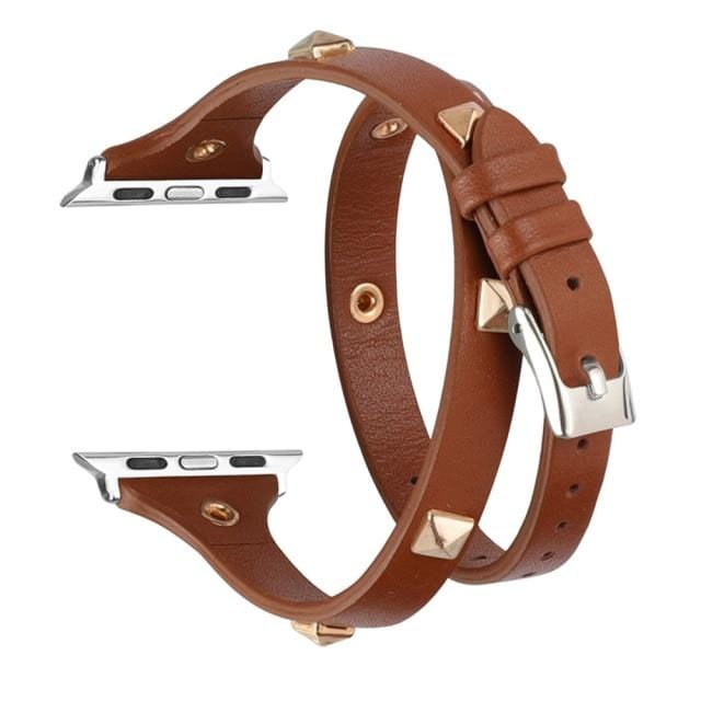 Double Tour Wraps Strap For Apple Watch Studded with Rivet Watch Bands For Series 5/4/3/2/1 40mm 44mm - Elegance & Splendour