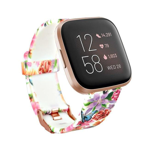 New Print Flower Silicone Replacement  Wristband For Fitbit Versa 2/Versa Lite/Versa