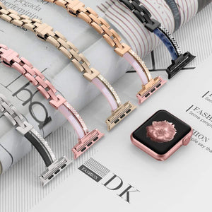 Sleek Metal Resin & Rhinestone Bracelet Compatible With Apple Watch - Elegance & Splendour