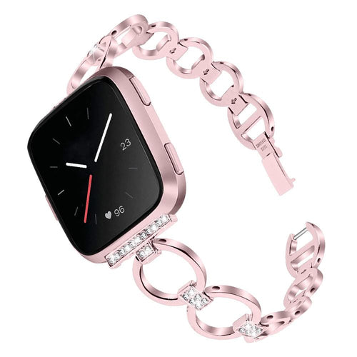 Rhinestone Double Circle Smart Strap For Fitbit Versa