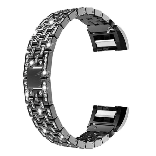Luxury Crystal Diamond Metal  WatchBand For Fitbit Charge 2