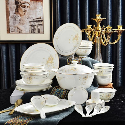46 Pcs Fine Bone China Premium Dinnerware Set - Elegance & Splendour