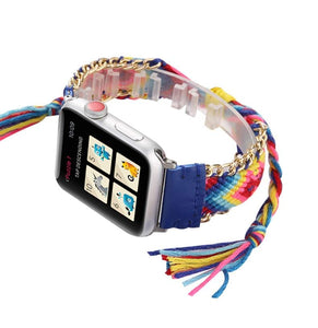Handmade Retro Colorful Band Compatible With Apple Watch - Elegance & Splendour