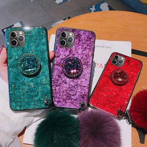 Luxury Diamond Marble Glitter Silicon Cover For iPhone With Holder Ring - Elegance & Splendour