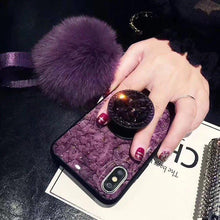 Load image into Gallery viewer, Luxury Diamond Marble Glitter Silicon Cover For iPhone With Holder Ring - Elegance & Splendour