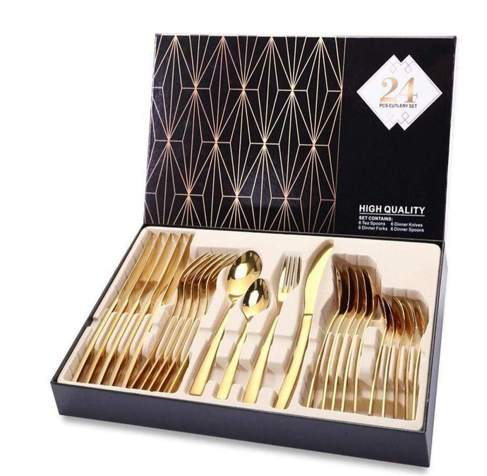 Luxury Gold Cutlery Dinnerware Set - Elegance & Splendour