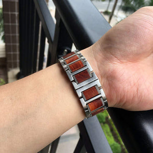 Natural Red Sandalwood Steel Band Compatible With Apple Watch - Elegance & Splendour