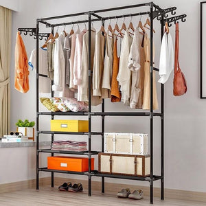 Clothes Hanger Coat Rack Floor Hanger Storage Wardrobe Clothing Drying Racks - Elegance & Splendour