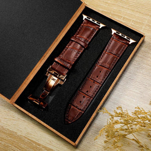 Butterfly buckle Leather Band Compatible With Apple Watch - Elegance & Splendour