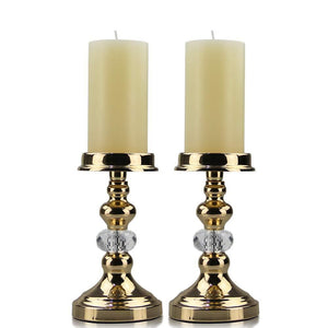 Luxury Gold Pillar Tea Light Metal Candle Holders - Elegance & Splendour
