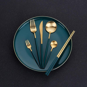 High End Golden Green Stainless Steel Travel Cutlery Dinner Set - Elegance & Splendour