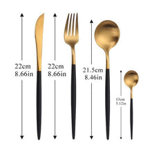 Load image into Gallery viewer, High End Golden Green Stainless Steel Travel Cutlery Dinner Set - Elegance & Splendour