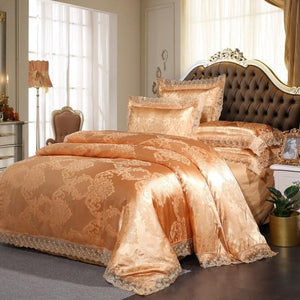 Silk Lace Ruffles Duvet Cover Luxury Bedding Set - Elegance & Splendour