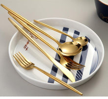 Load image into Gallery viewer, Elite Mirror Gold Stainless Steel Premium Cutlery Set - Elegance & Splendour