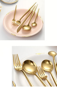 Elite Mirror Gold Stainless Steel Premium Cutlery Set - Elegance & Splendour