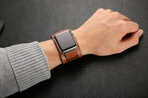 Quadra-Leather Loop Link Band Compatible With Apple Watch - Elegance & Splendour