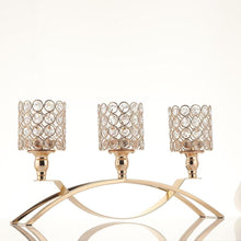 Load image into Gallery viewer, 3 Arms Crystal Candelabra Tealight Candle Holders Metal - Elegance & Splendour