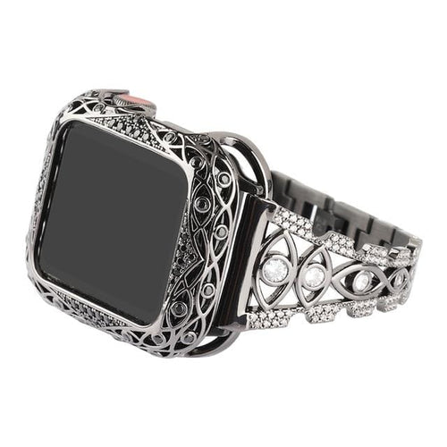 New Stainless Steel Rhinestone Strap + Copper Case Compatible With Apple Watch - Elegance & Splendour
