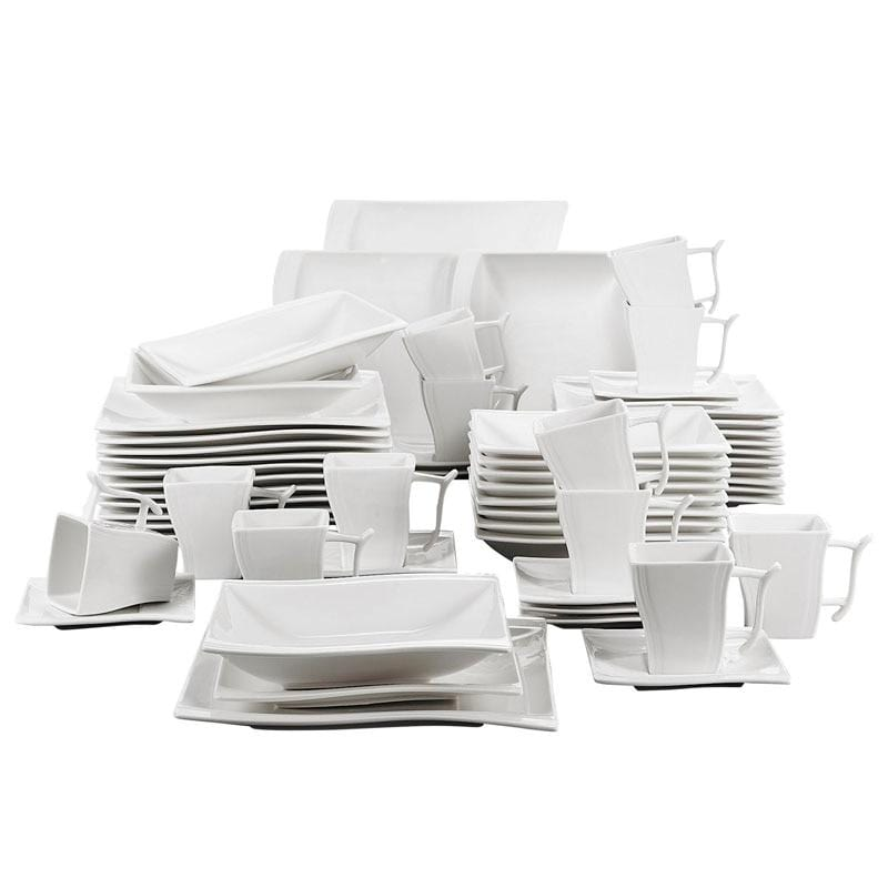 60-Piece White Porcelain Dinner Set, Service for 12 Persons - Elegance & Splendour