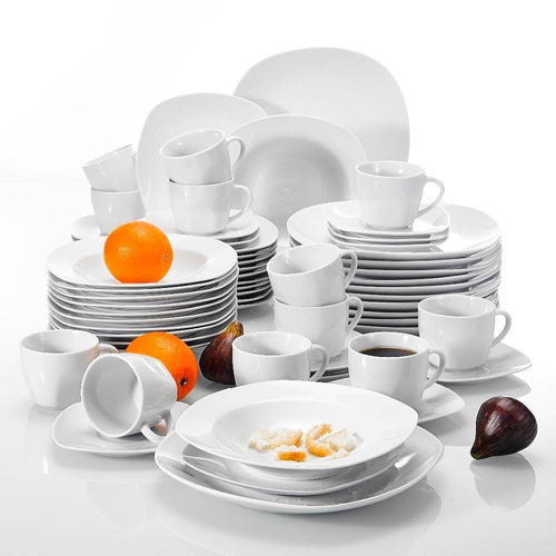 Elite 60-Pieces Porcelain Dinner Set - Serves 12 Persons - Elegance & Splendour