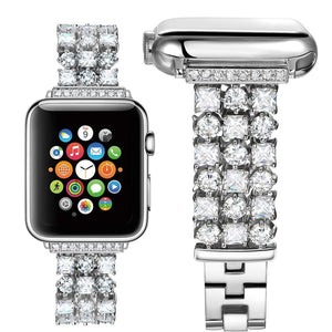 Handmade Luxury Rhinestone Plated Band Compatible With Apple Watch - Elegance & Splendour