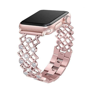 Rhinestones Studded Perfect Polished Band Compatible With Apple Watch - Elegance & Splendour