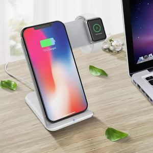 Wireless Charger For Apple Watch 4 3 2 & iPhone 8 Plus X Xs Max XR Samsung S9 S8 QC 3.0 USB Fast Wireless Charging Holder - Elegance & Splendour