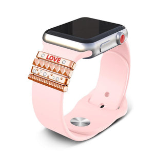 "Decorative Ring Ornament For Apple Watch Band 42mm 44mm 40mm 38mm - ""LOVE"" Gift - Elegance & Splendour"