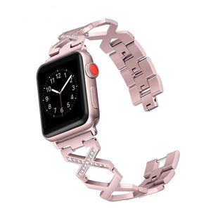 Lesotho - Ravishing X Link Rhinestone Steel Band Compatible With Apple Watch - Elegance & Splendour