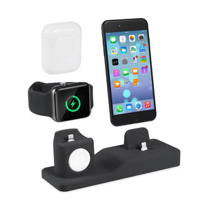 3 in 1 Silicone Charging Dock For iPhone + Apple Watch + Airpods - Elegance & Splendour
