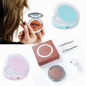 LED Lighted Mini Makeup Mirror Touch Screen 3X Magnifying Glass - Travel Portable - Elegance & Splendour