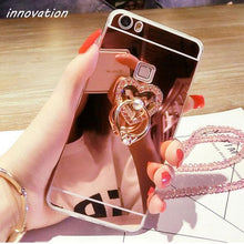 Load image into Gallery viewer, Diamond Rhinestone Mirror Phone Cover With Ring Stand & Finger Holder - Elegance & Splendour