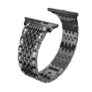 Diamond Stainless Steel Link Bracelet Strap Compatible With Apple Watch - Elegance & Splendour