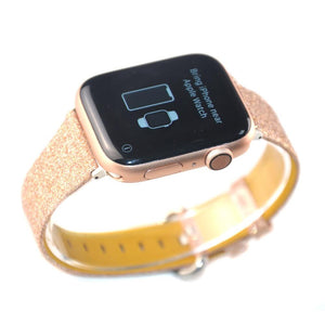 Shiny Glitter Leather Bling Luxury Bracelet Strap For Apple Watch - Elegance & Splendour