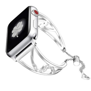 Lauren - Bling Diamond Stainless Steel Strap Compatible With Apple Watch - Elegance & Splendour