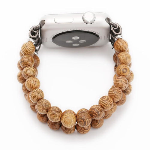 Handmade Natural Bamboo Wooden Beads Strap for iWatch