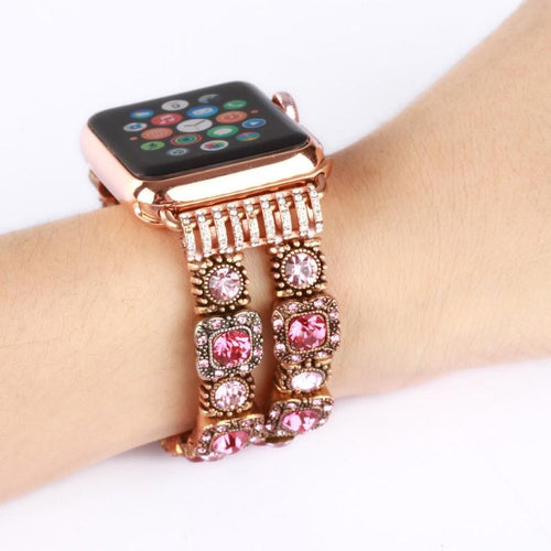 Handmade Crystal Stones Elastic Band For Apple Watch Series 1 /2/3/4  & Size 38mm 42mm 40mm 44mm